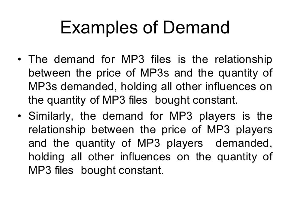 Examples of Demand