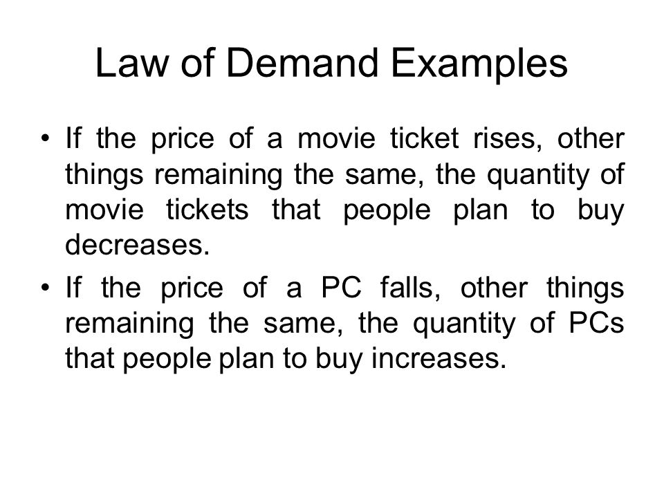 Law of Demand Examples