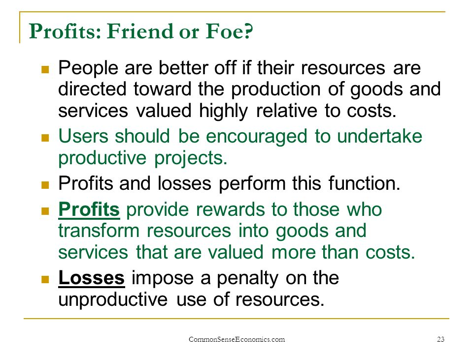 Profits: Friend or Foe