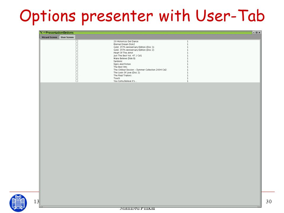 Options presenter with User-Tab