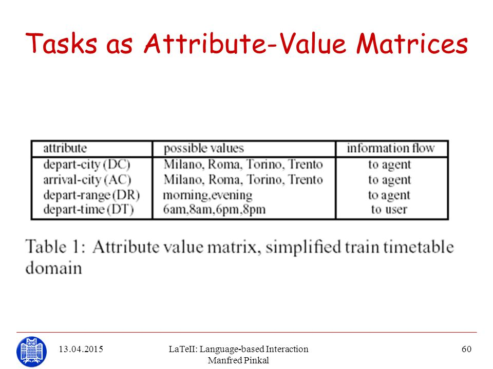 Tasks as Attribute-Value Matrices