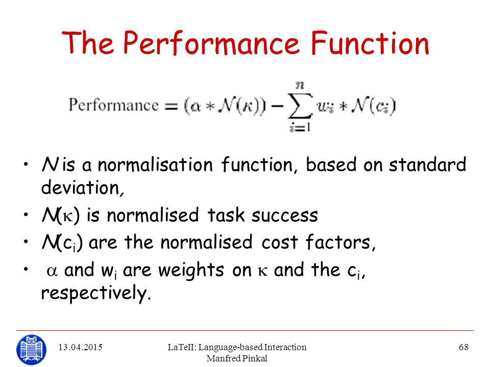 The Performance Function
