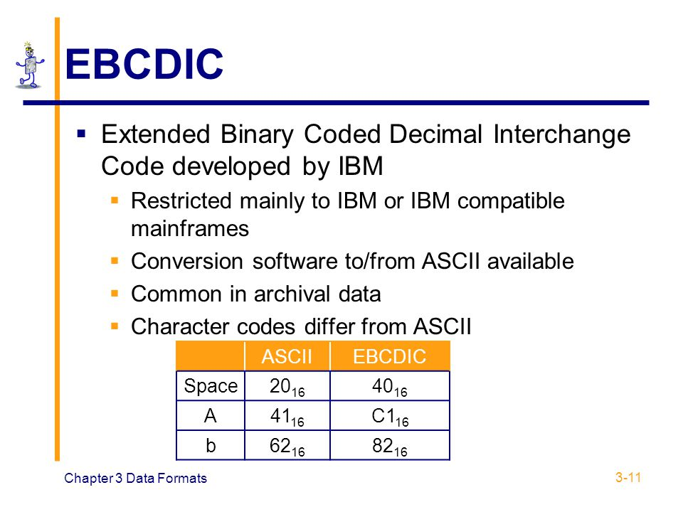 EBCDIC Extended Binary Coded Decimal Interchange Code developed by IBM