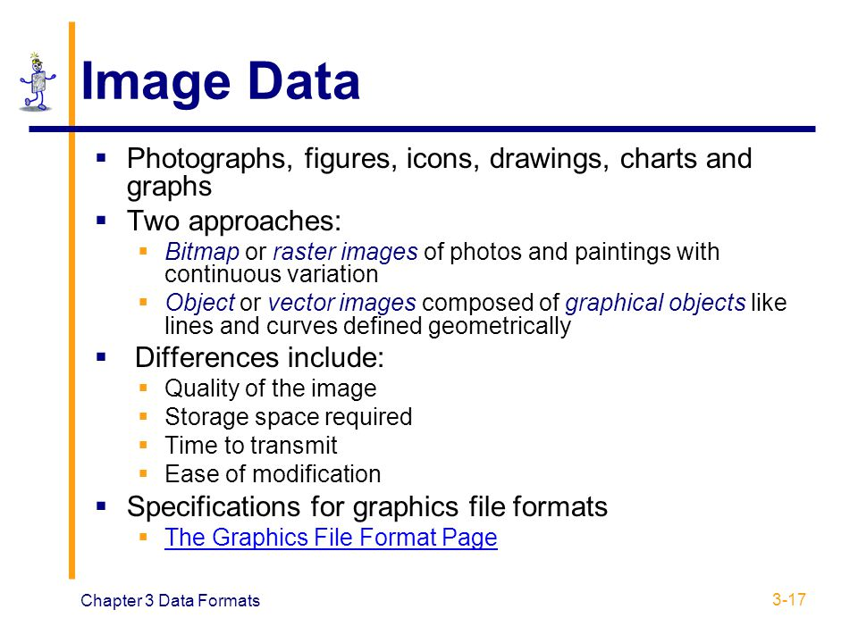 Image Data Photographs, figures, icons, drawings, charts and graphs