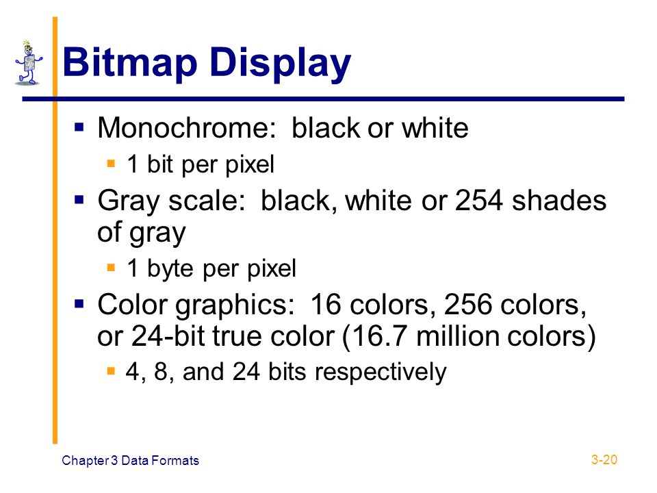 Bitmap Display Monochrome: black or white