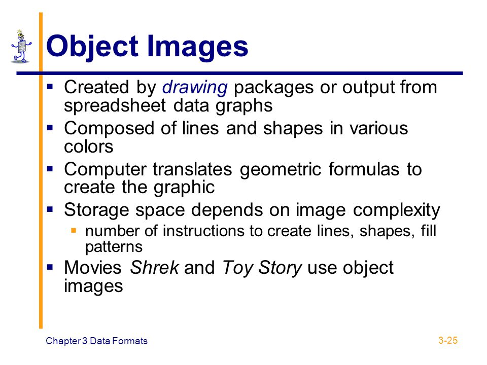 Object Images Created by drawing packages or output from spreadsheet data graphs. Composed of lines and shapes in various colors.