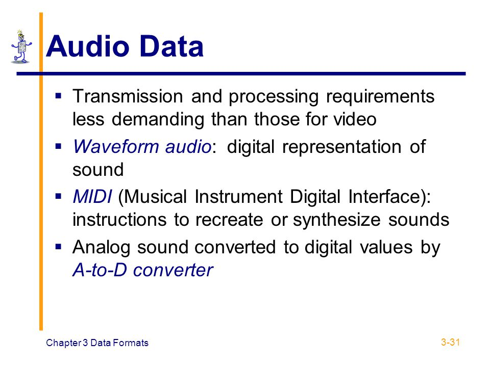 Audio Data Transmission and processing requirements less demanding than those for video. Waveform audio: digital representation of sound.