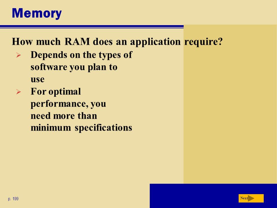 Memory How much RAM does an application require