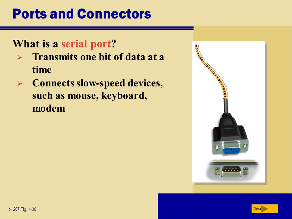 Ports and Connectors What is a serial port