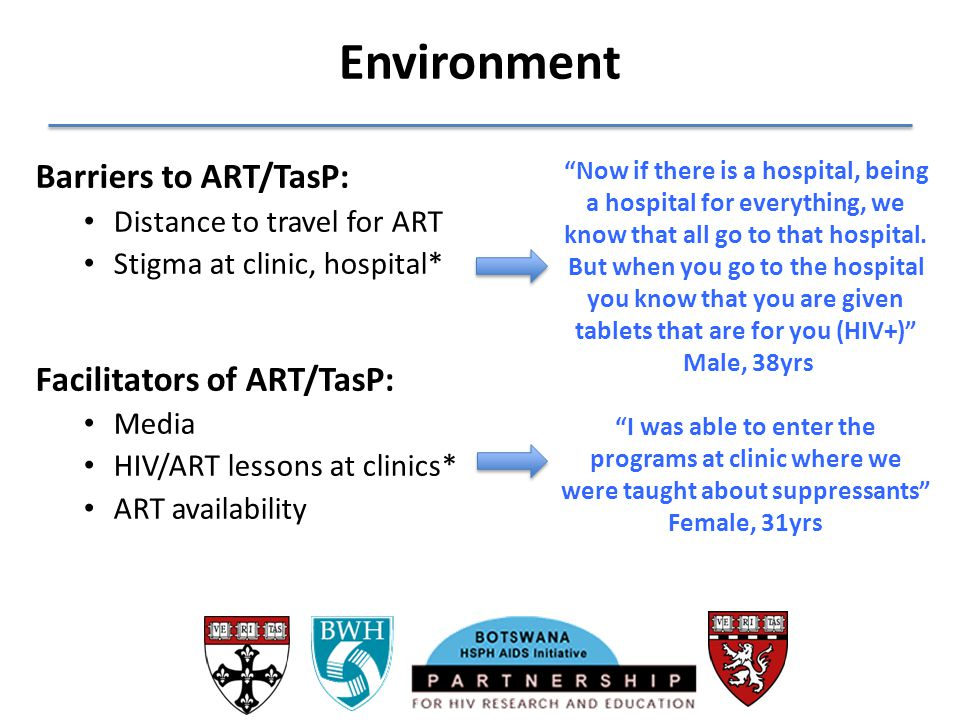 Environment Barriers to ART/TasP: Facilitators of ART/TasP: