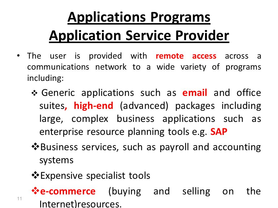 Applications Programs Application Service Provider