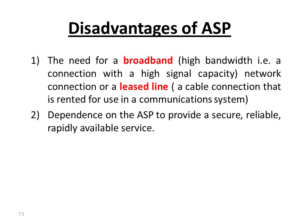 Disadvantages of ASP