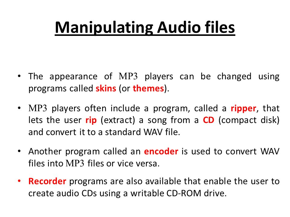 Manipulating Audio files