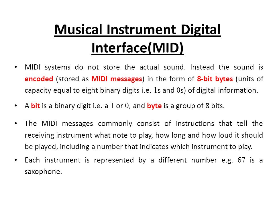 Musical Instrument Digital Interface(MID)