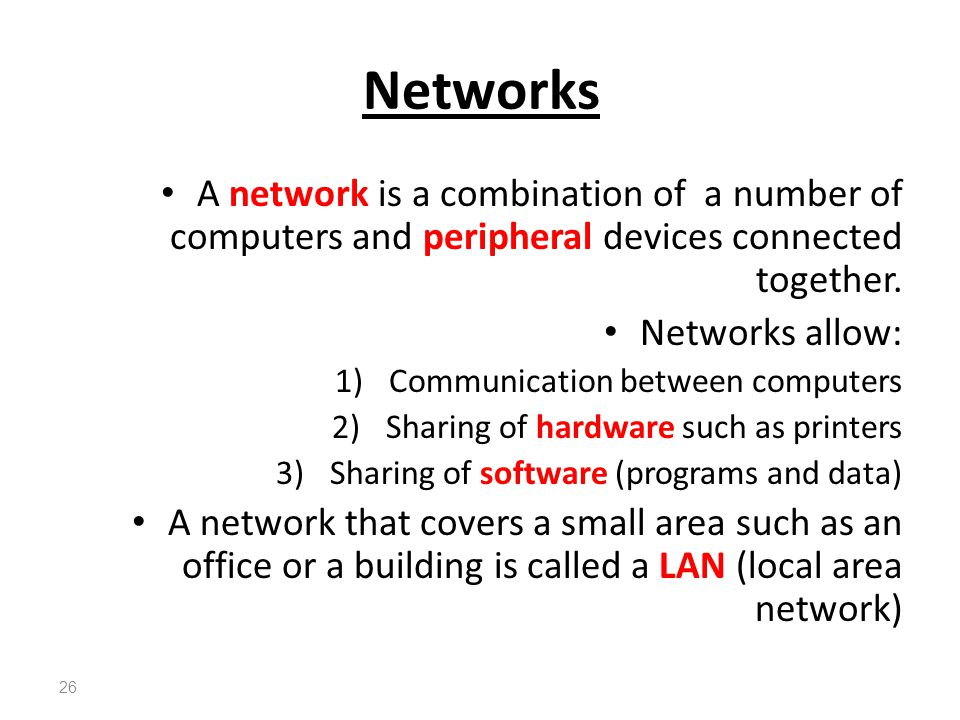 Networks A network is a combination of a number of computers and peripheral devices connected together.