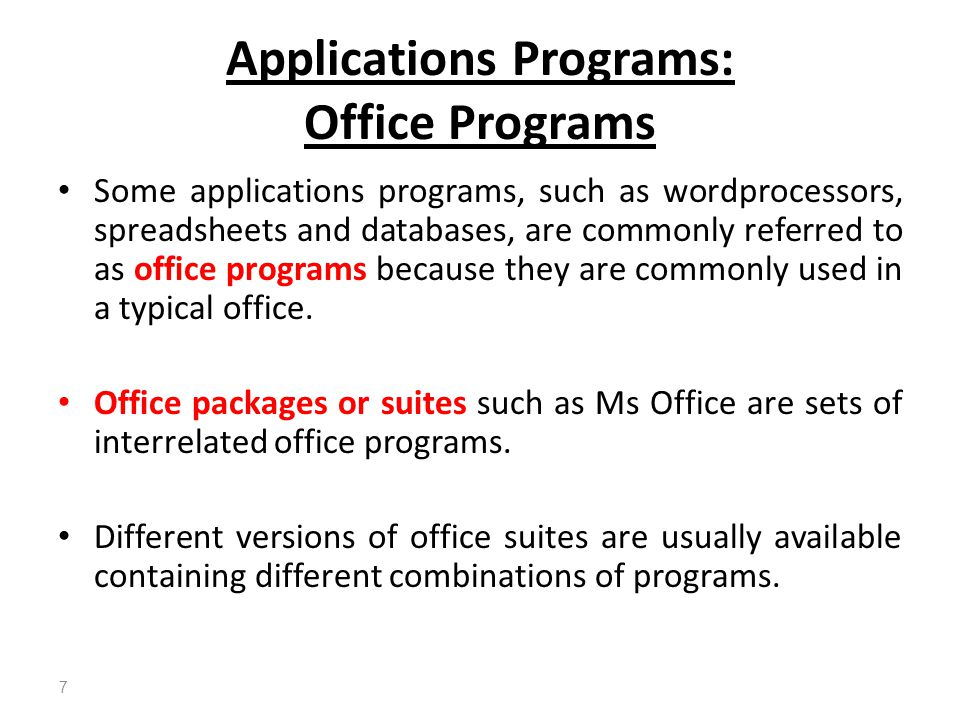 Applications Programs: Office Programs