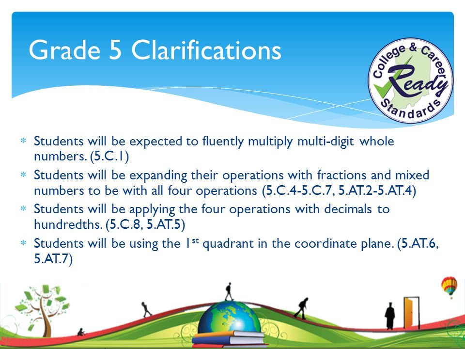 Grade 5 Clarifications Students will be expected to fluently multiply multi-digit whole numbers. (5.C.1)