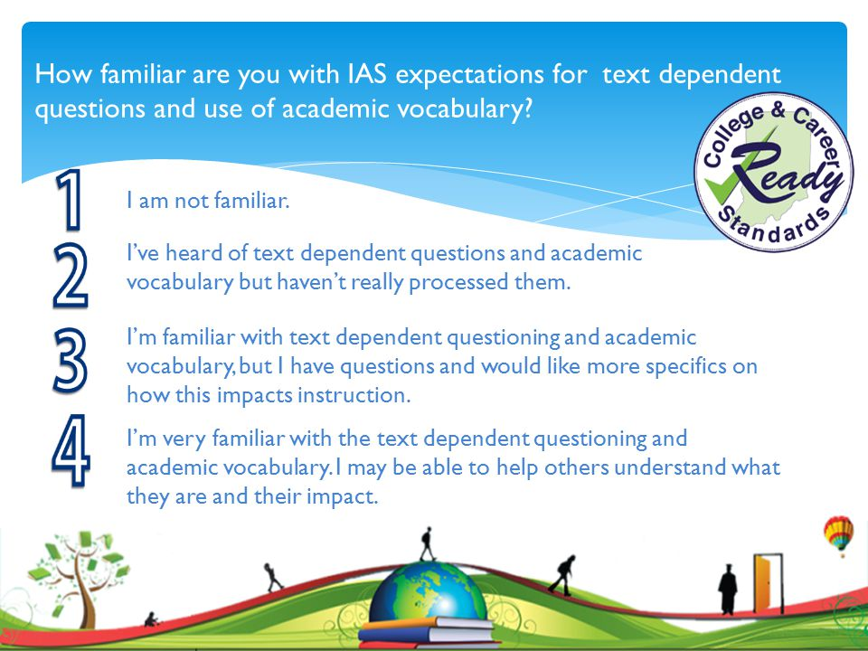How familiar are you with IAS expectations for text dependent questions and use of academic vocabulary