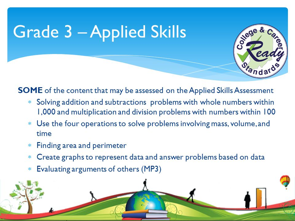 Grade 3 – Applied Skills SOME of the content that may be assessed on the Applied Skills Assessment.