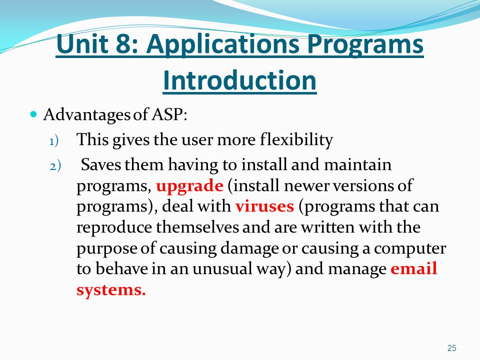 Unit 8: Applications Programs Introduction
