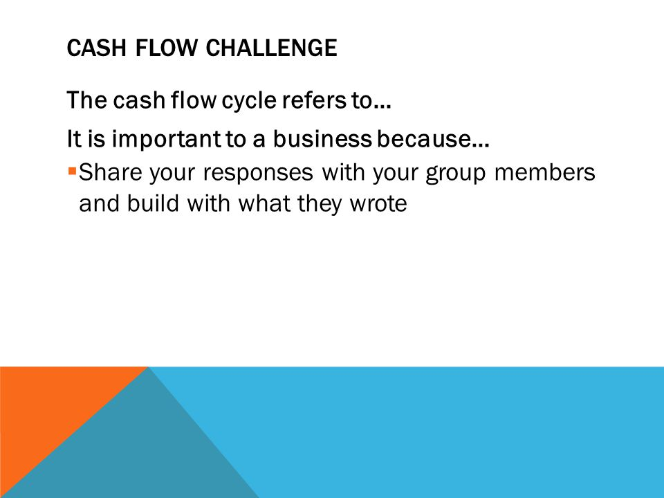 Cash Flow Challenge The cash flow cycle refers to… It is important to a business because…