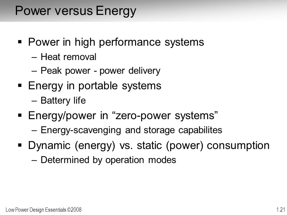 Power versus Energy Power in high performance systems