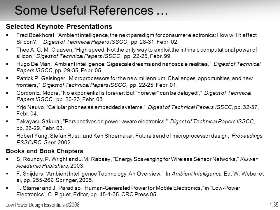 Some Useful References …