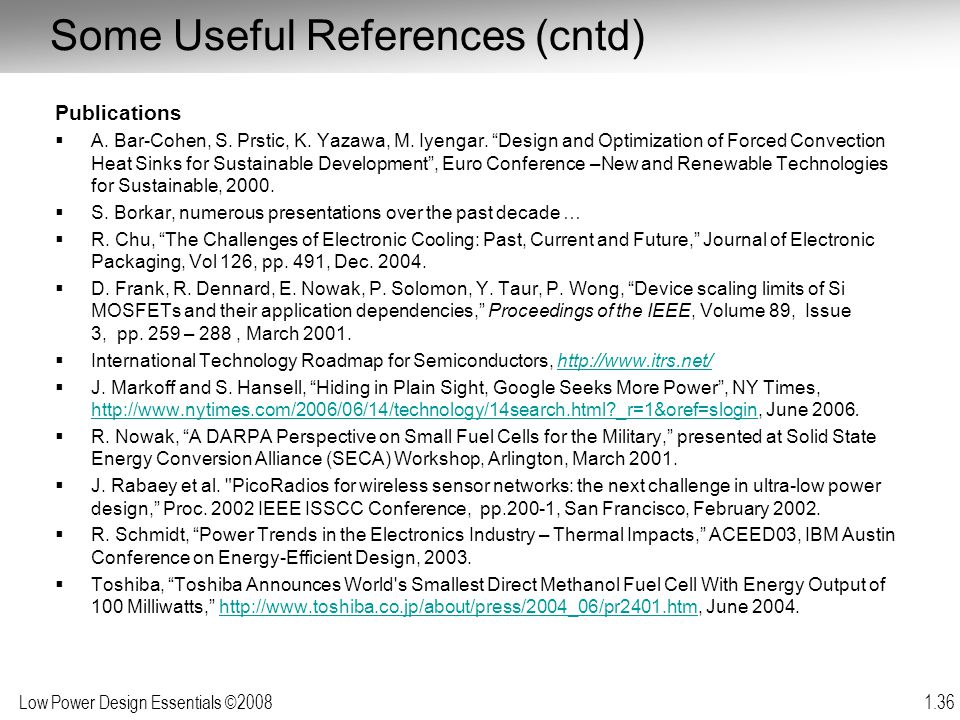 Some Useful References (cntd)