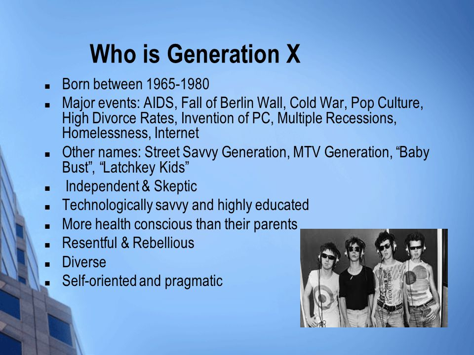 Who is Generation X Born between 1965-1980