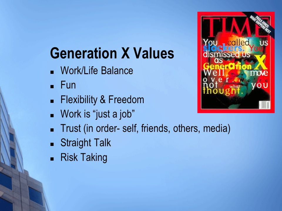 Generation X Values Work/Life Balance Fun Flexibility & Freedom