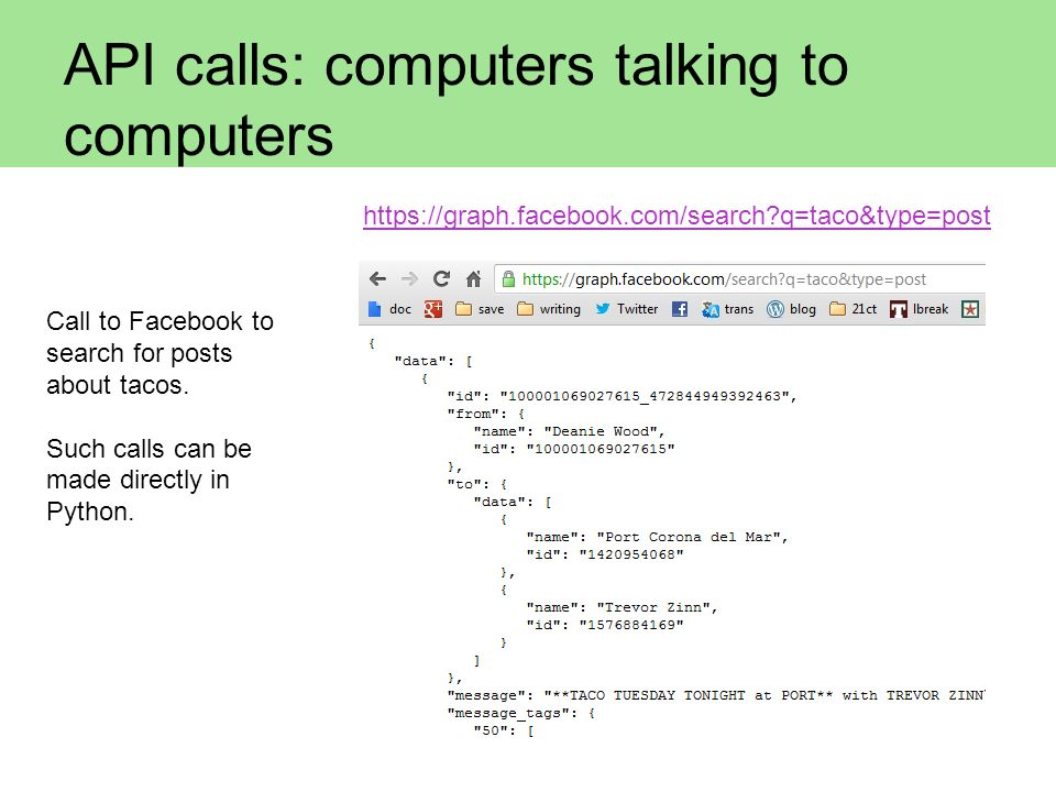 API calls: computers talking to computers