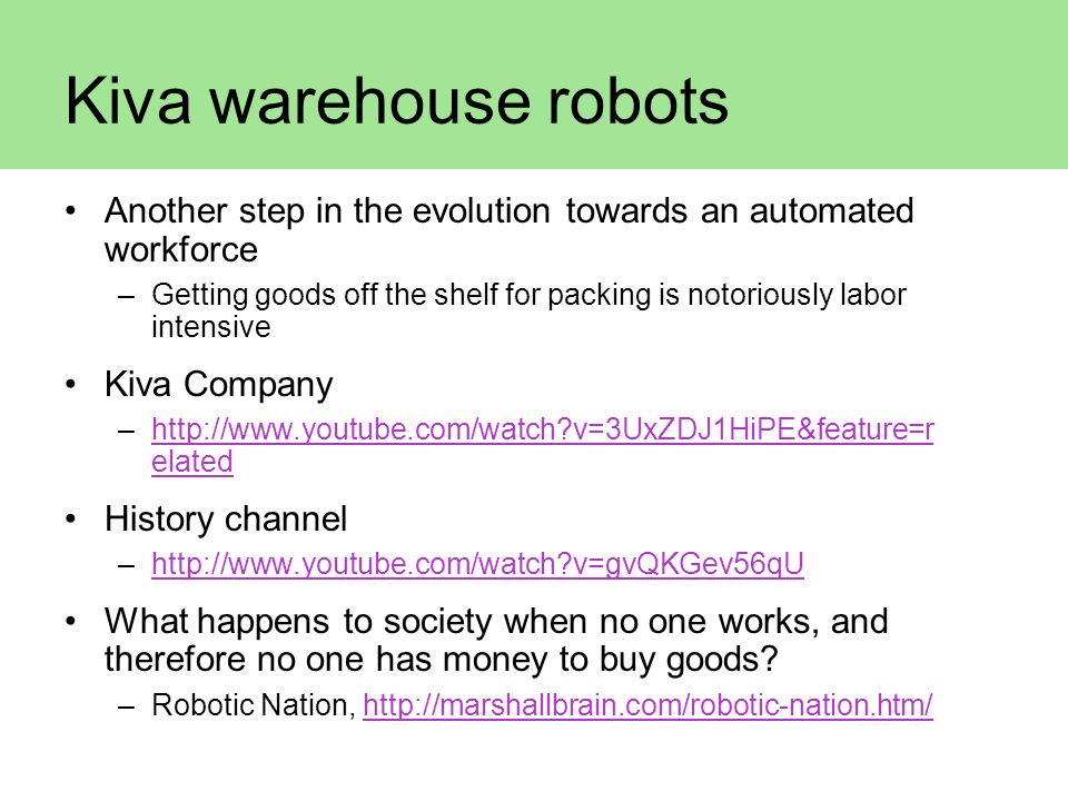 Kiva warehouse robots Another step in the evolution towards an automated workforce.