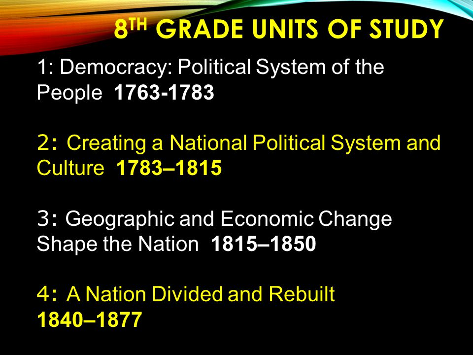 8th Grade Units of Study 1: Democracy: Political System of the People 1763-1783. 2: Creating a National Political System and Culture 1783–1815.