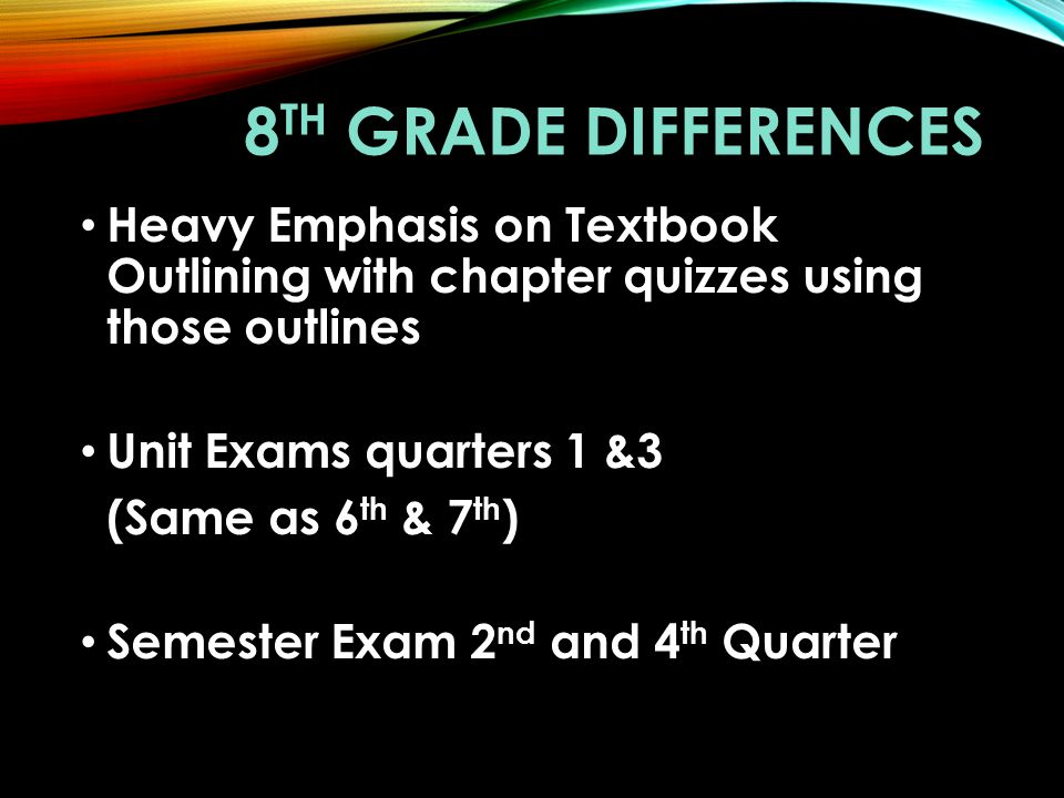 8th Grade Differences Heavy Emphasis on Textbook Outlining with chapter quizzes using those outlines.