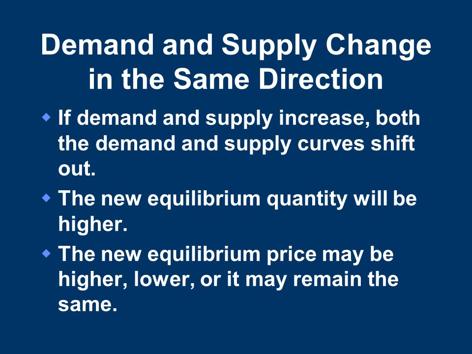 Demand and Supply Change in the Same Direction