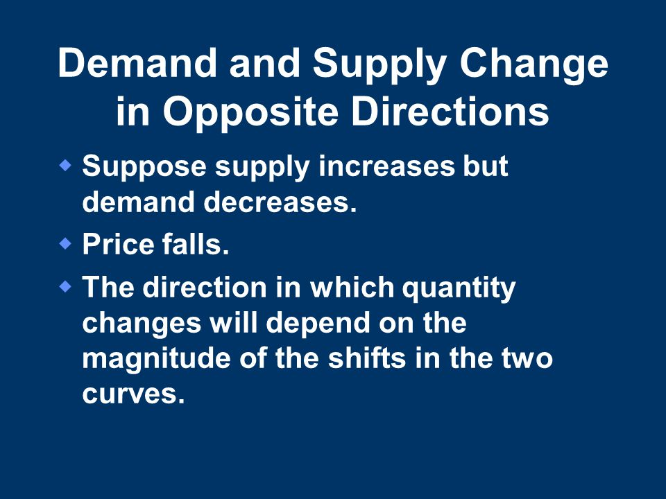 Demand and Supply Change in Opposite Directions