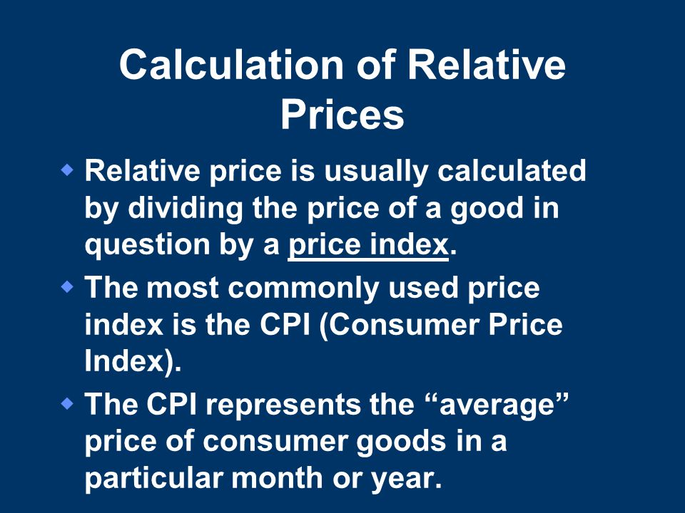 Calculation of Relative Prices