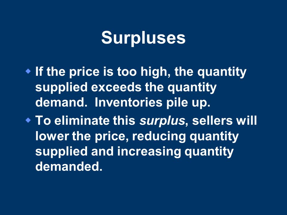 Surpluses If the price is too high, the quantity supplied exceeds the quantity demand. Inventories pile up.