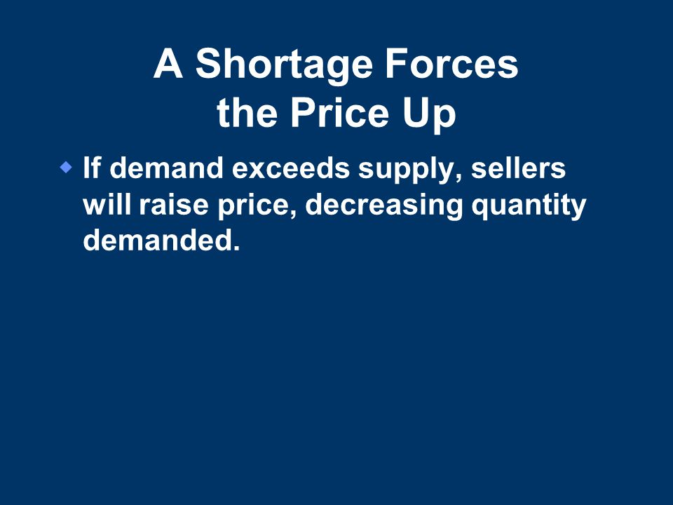 A Shortage Forces the Price Up