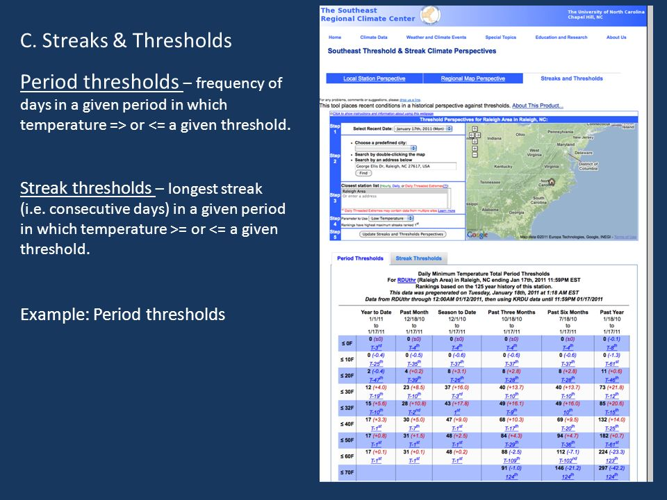 C. Streaks & Thresholds Period thresholds – frequency of days in a given period in which temperature => or <= a given threshold.