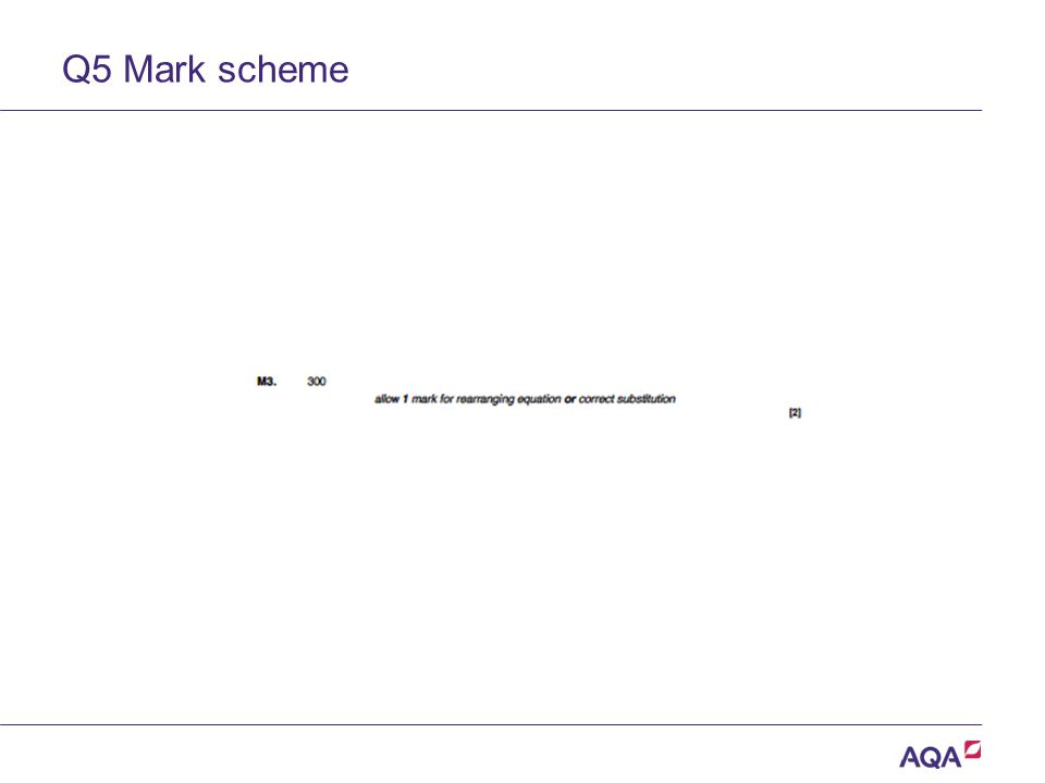 Q5 Mark scheme Version 2.0 Copyright © AQA and its licensors.