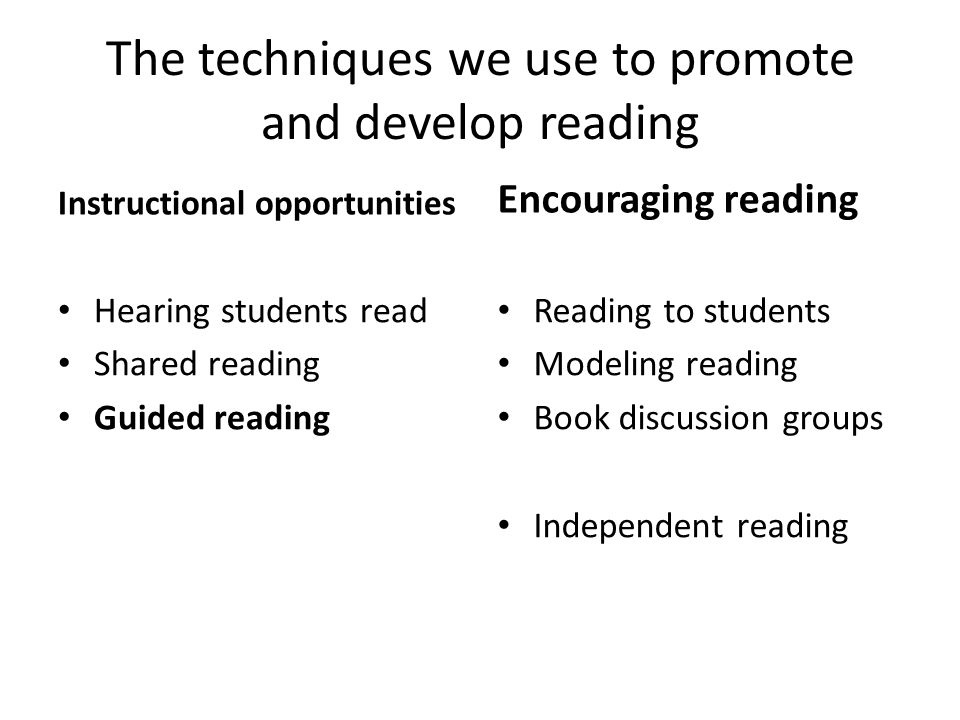 The techniques we use to promote and develop reading