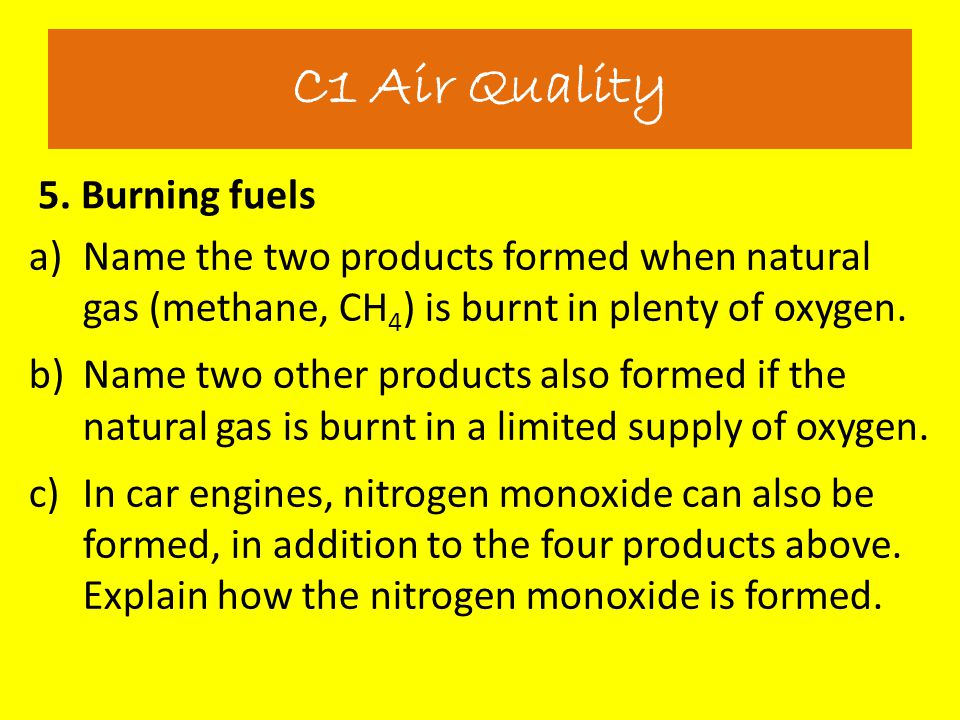 C1 Air Quality 5. Burning fuels