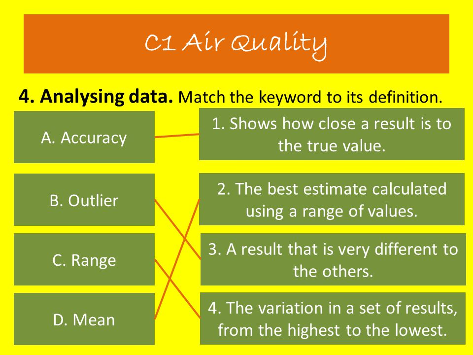 C1 Air Quality 4. Analysing data. Match the keyword to its definition.