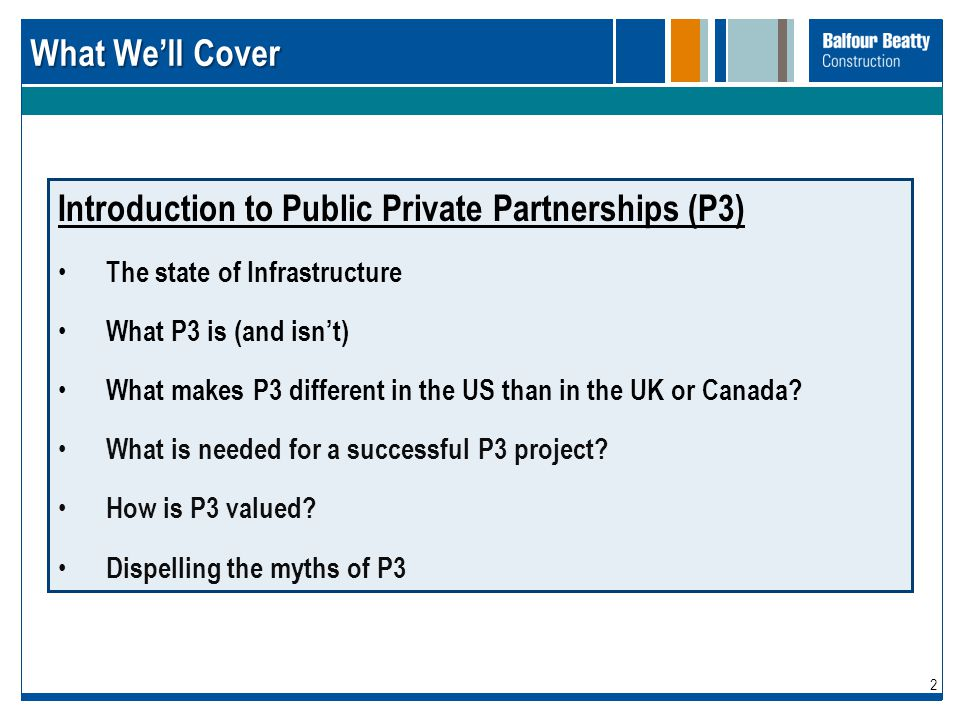 Introduction to Public Private Partnerships (P3)