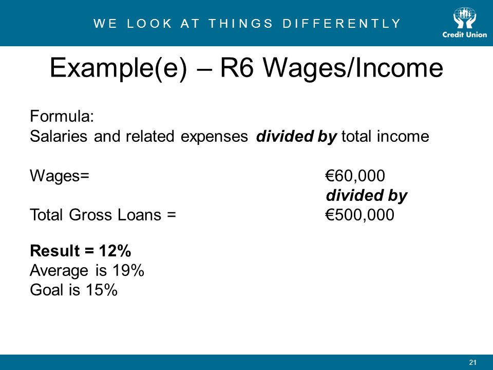 Example(e) – R6 Wages/Income