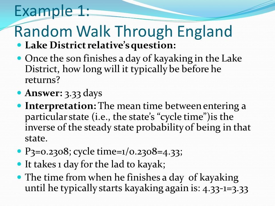 Example 1: Random Walk Through England