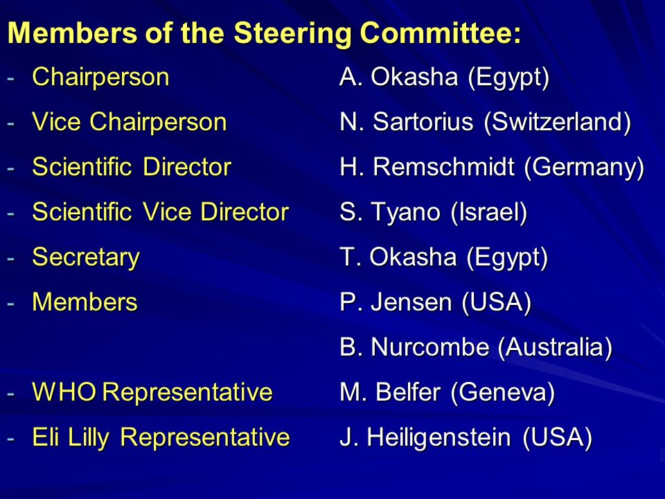 Members of the Steering Committee: