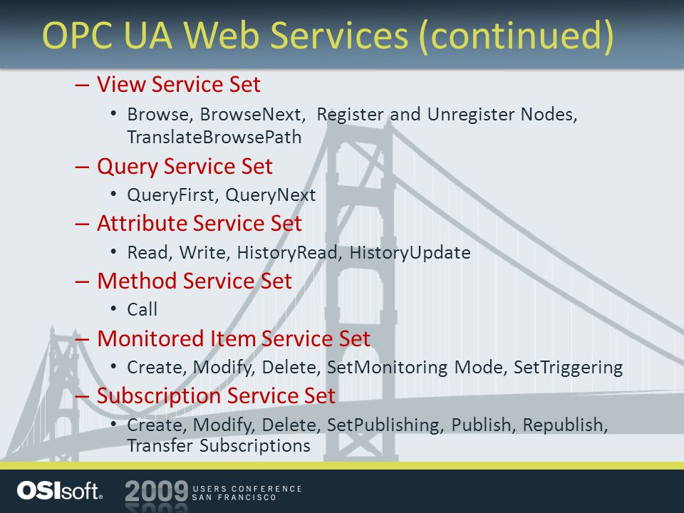 OPC UA Web Services (continued)