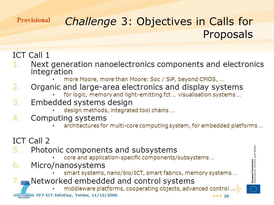 Challenge 3: Objectives in Calls for Proposals